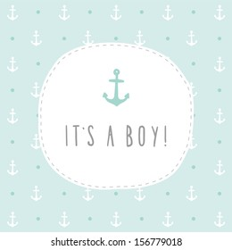 It's a boy vector hand drawn card