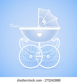 It's a Boy!! Vintage baby pram in blue hues on blue background, vector image