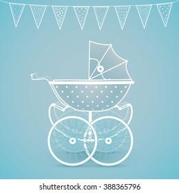 It's a Boy!! Vintage baby pram on blue-green background
