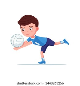Boy volleyball player in sportswear plays with the ball. Small child beats off a volleyball ball in an interesting pose. Vector illustration isolated on white, flat style.