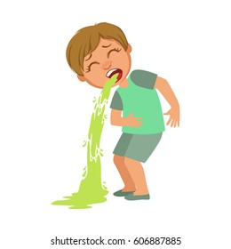 Boy Vomiting,Sick Kid Feeling Unwell Because Of The Sickness, Part Of Children And Health Problems Series Of Illustrations