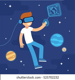 Boy with VR headset in space. Virtual reality for education and games. Flat cartoon vector illustration.