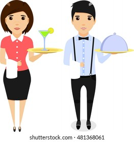 The boy waiter with a tray in his hand. The girl the waiter with a tray in hand