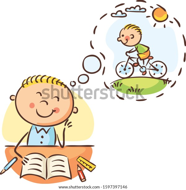Boy is waiting till the lesson is over and he can ride a bike, colorful illustration