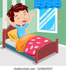 boy wake up morning on the bed vector