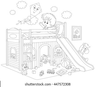 Boy waking up in his bedroom