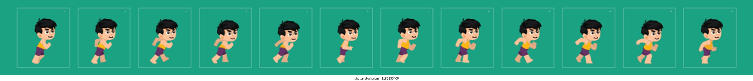 Boy walk cycle. animation walk cycle. walking animation sprite sheets