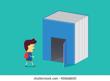 Boy walk into the door of big book. This illustration is a concept about reading and education.