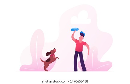 Boy Walking with Dachshund Dog Outdoors. Male Character Playing Frisbee with Pet Spending Time at Summertime Park Relaxing. Leisure, Communicating with Home Animal. Cartoon Flat Vector Illustration