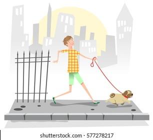 Boy walking a pug on a sidewalk, background with city (vintage Fifties illustration)