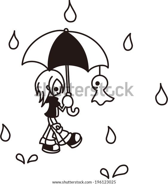 A boy is walking in the rain.