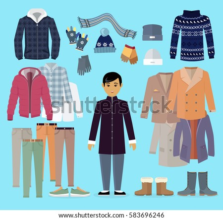 boy warm clothes stands centre clothing stock vector royalty free