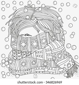Boy with warm scarf. Winter, cold, snow. Pattern for coloring book. Winter sketch. Warm clothes,  scarf. Hand-drawn vector illustration.