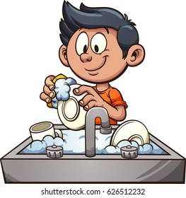 Boy washing dishes. Vector clip art illustration with simple gradients. Some elements on separate layers.