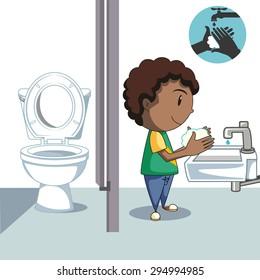 Boy washing hands, bathroom