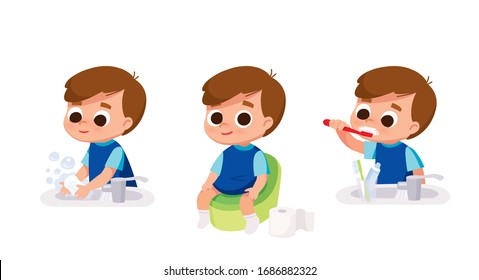 Boy washing hands. Boy brushing teeth. Boy sitting in toilet.