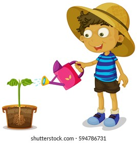 Boy watering plant on white background illustration