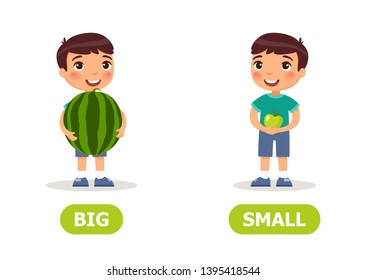 Boy with watermelon and apple. Illustration of the opposites  big and a small.Card for teaching aid, for a foreign language learning. Vector illustration on white background, cartoon style.