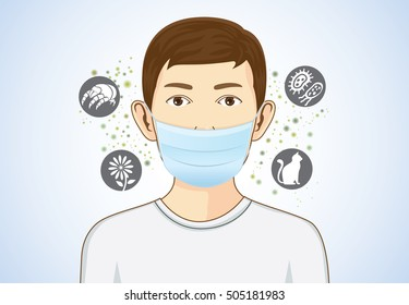 Boy wearing breath mask for protect something that cause allergic reactions include pollen, dust particles and animal, bacteria.