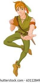 Boy wearing green cloth extends a hand