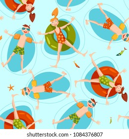 Boy wearing inflatable armbands and girl with a float rubber safety ring swimming in the sea. Summer. Seamless background pattern. Vector illustration
