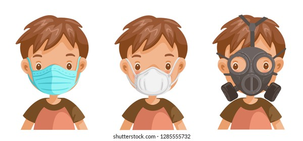 boy wearing medical mask. Different mask types. Male head face. Isolated on a white background vector illustration