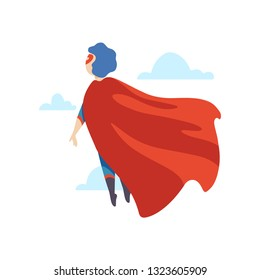 Boy Wearing Superhero Costume Flying, Back View, Super Child Character in Mask and Red Cape Vector Illustration