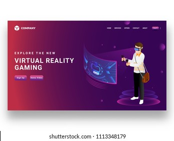 Boy wearing VR glasses playing video game with joystick, responsive landing page design for Virtual reality gaming concept.