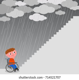 Boy in wheel chair near a big staircase vector illustration