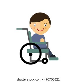The boy in the wheelchair vector illustration. A boy with a disability. People with disabilities. Vector illustration in the flat style.