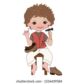 a boy in white trousers and a pink vest sits on a stool and holds a hammer and a nail in his hands, a holey shoe on his lap, and is repaired on the floor, color clip art on a isolated background