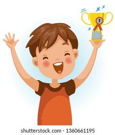 Boy win. Positive emotions, Holding a great prize very happy. Cartoon character vector illustration isolated on white background.