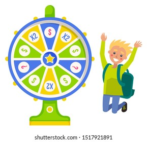 Boy winner with backpack and fortune wheel, risk and luck vector. Casino and opportunity, prize and award, color circle and pointer, rotation, jumping guy