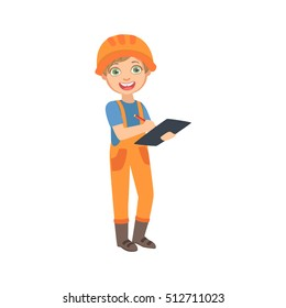 Boy Work Superintendent With The Checklist, Kid Dressed As Builder On The Construction Site Future Dream Profession Set Illustration