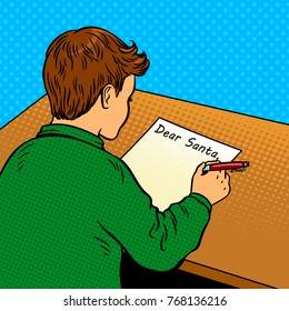 Boy writes a letter to Santa Claus pop art retro vector illustration. Comic book style imitation.