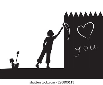 """boy writes on the fence """"I love you"""", shadows, vector black and white,"""