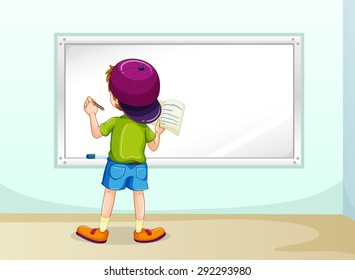 Boy writing on whiteboard inside the room