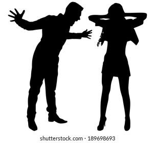 Boy yelling at his girlfriend, vector
