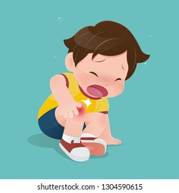 The boy in yellow shirt suffering from pain in knee, illustration of child have accident slipping on the floor, Sad kid having bruises on his knee
