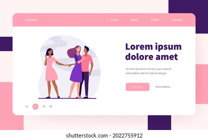 Boyfriend being unfaithful to his girlfriend. Wife, lie, hand flat vector illustration. Betrayal and infidelity concept for banner, website design or landing web page