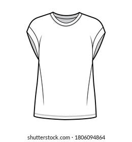 Boyfriend cotton-jersey T-shirt technical fashion illustration with classic crew neckline, short cap sleeves, oversized. Flat apparel template front white color. Women men, unisex top CAD mockup