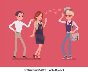 Boyfriend feeling jealous. Man crazy about his girlfriend talking to other boy, suffering from obsessive love, suspicious, mistrusting partner in relationship. Vector flat style cartoon illustration