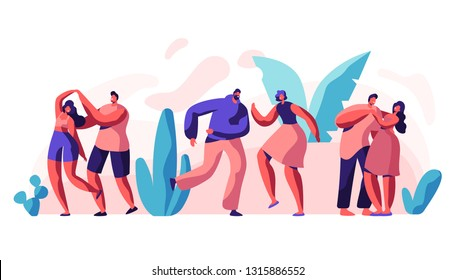 Boyfriend Girlfriend Couple Dance Together Set. Male and Female Partner have Fun Dancing. Active Leisure Template. Collection of Man Woman Stand in Fun Pose. Flat Cartoon Vector Illustration