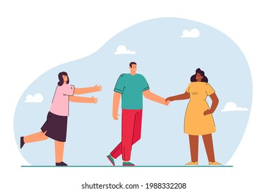 Boyfriend leaving for another girl flat vector illustration. Woman trying to save relationship. Love, betrayal, unfaithfulness, infidelity concept for banner, website design or landing web page