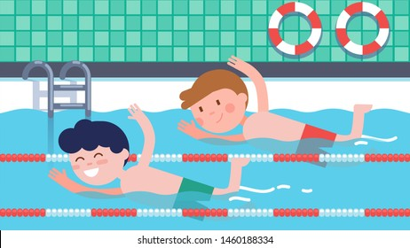 Boys athlete children swimming crawl style swim racing in competition. Indoor pool with ladder & lifebuoys. Happy kids swimmers cartoon characters championship. Sport training flat vector illustration
