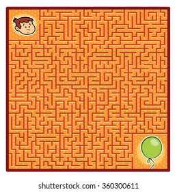 Boy's Balloon Maze Game (help the Fellow find the right way - vector puzzle)