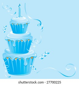 Boy's birthday cupcake with candle, confetti, streamers on a pale blue background