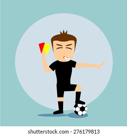 Boys cartoon character - referee with card and whistle