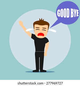 Boys cartoon character - say good bye