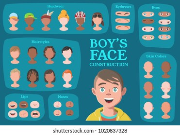 Boy's Character Constructor. From Student to Hipster. Cartoon Boy's Face Parts, Creation Spare Parts. Cartoon Style Faces. Body Part. Vector Illustration